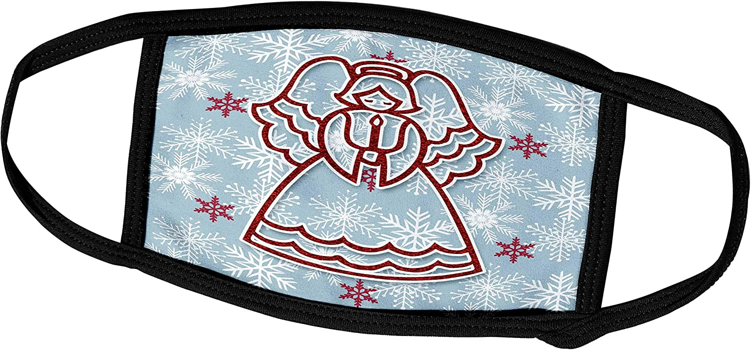 3dRose Doreen Erhardt Christmas Collection - Cute Christmas Angel Scrapbook Sticker Style in Red Blue Snowflakes - Face Masks (fm_264299_1)