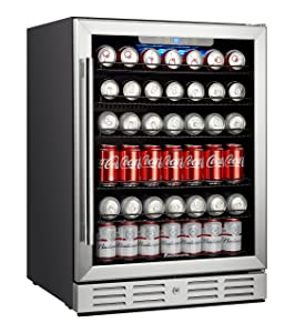"Kalamera 24"" Beverage Refrigerator 175 Can Built-in Single Zone Touch Control"