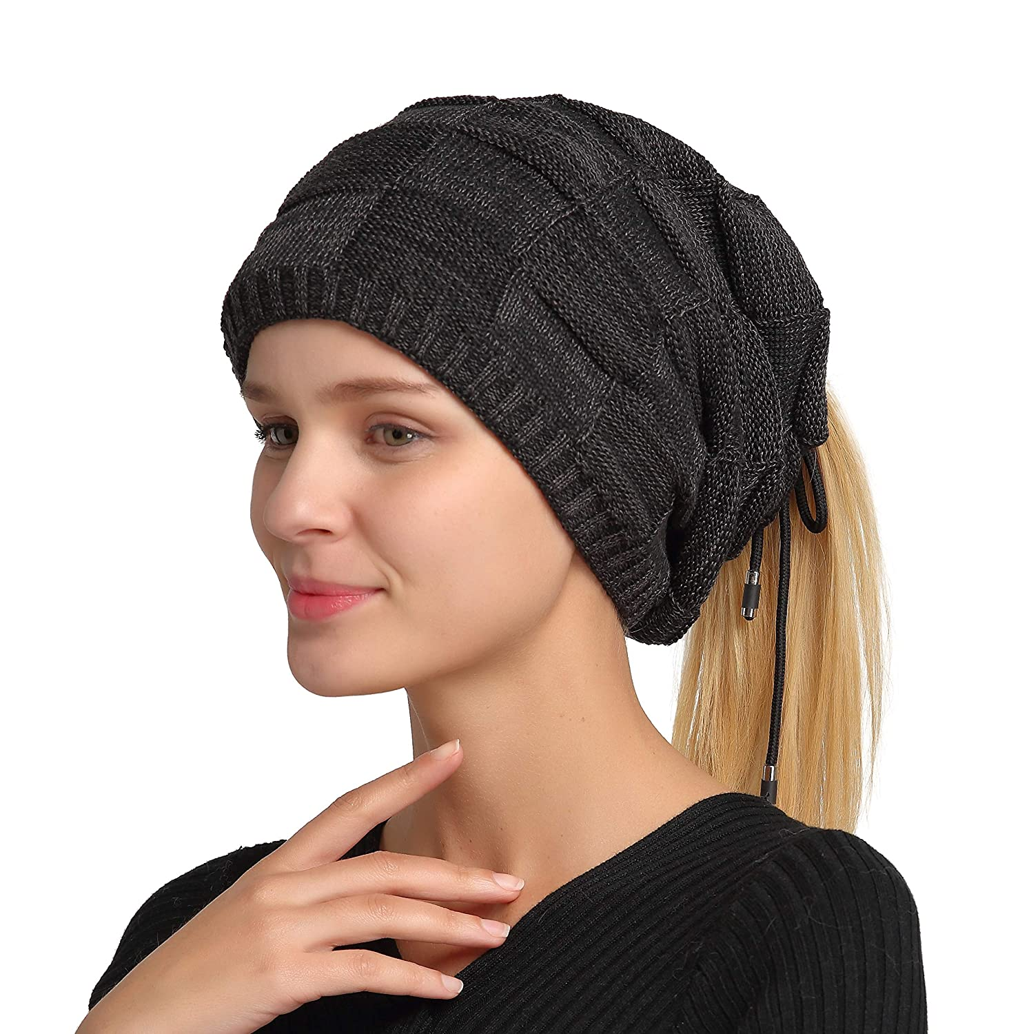 Jeasona Womens Multifunctional Winter Ponytail Beanie Slouchy Hat Scarf Neck Warmer Gift Black