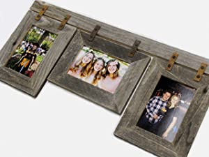 Picture Frame Collage (3) 5x7 Reclaimed Barn Wood Rustic Conestoga Multi Photo Frame Weathered Western Wedding Farmhouse Decor Style Wall Mounted Display Decorative Gallery Multiple Opening Distressed