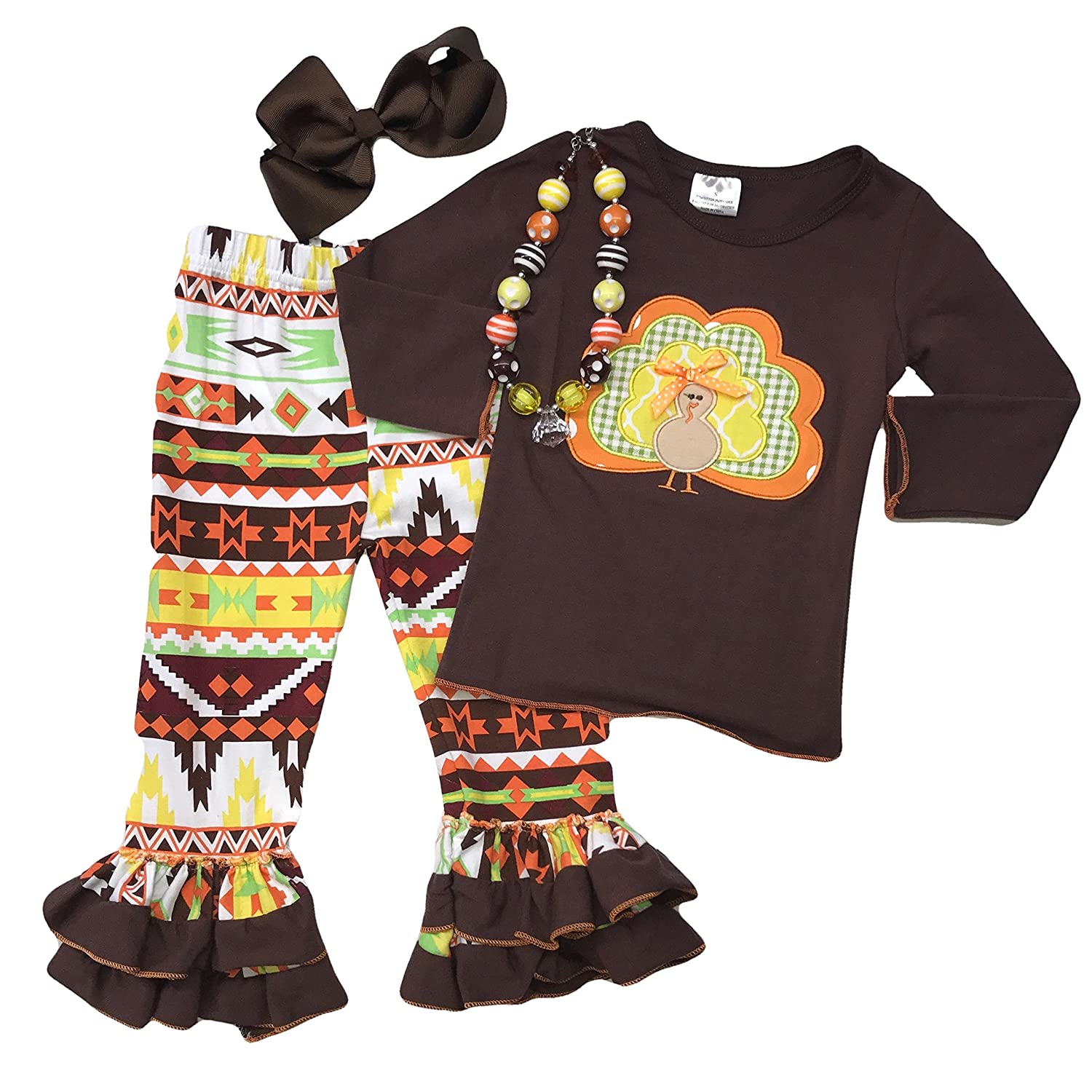 Amazon.com  Cute Kids Clothing Toddler Girl Girls Aztec Thanksgiving Turkey Outfit  Boutique Set W Headband   Necklace 4T To 6-7  Clothing f2fb5fee2