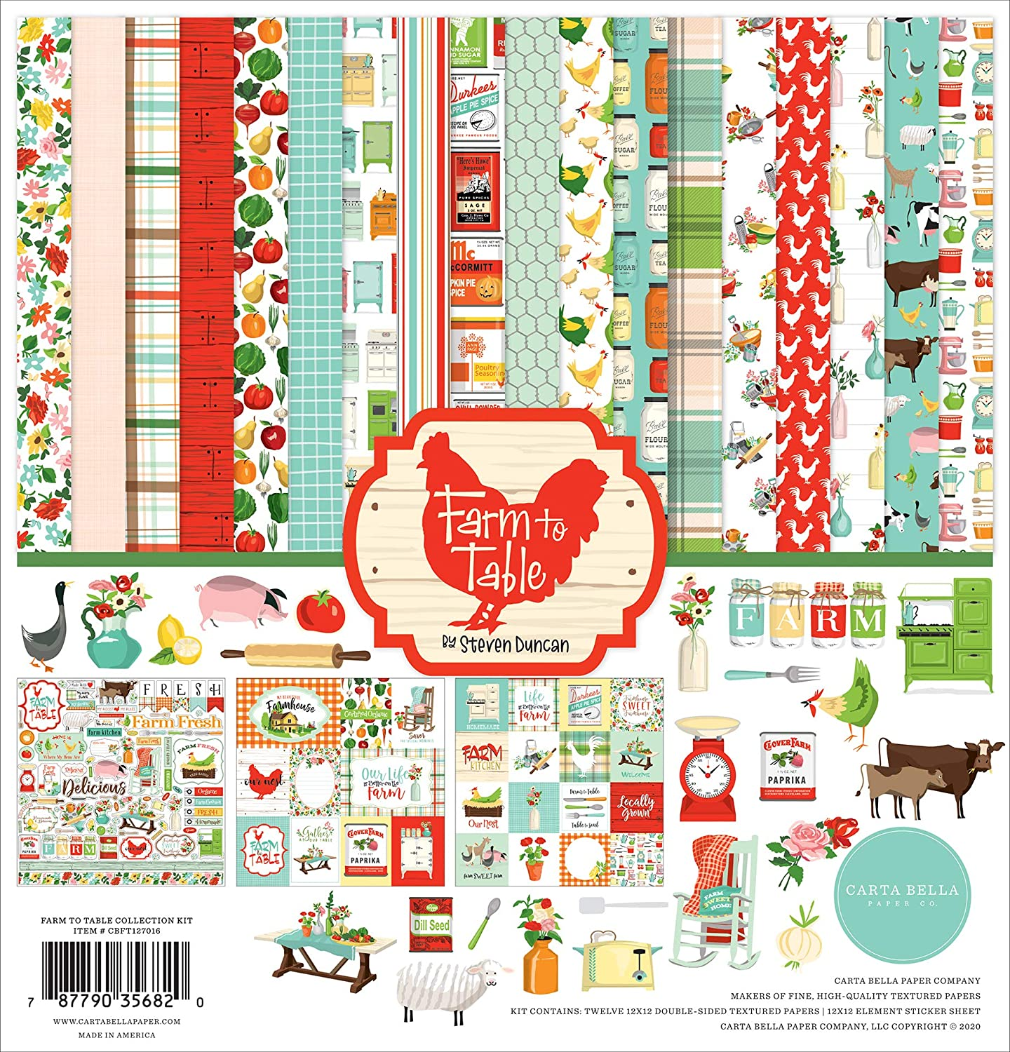 Carta Bella Paper Company Farm to Table Collection Kit Paper, 12-x-12-Inch