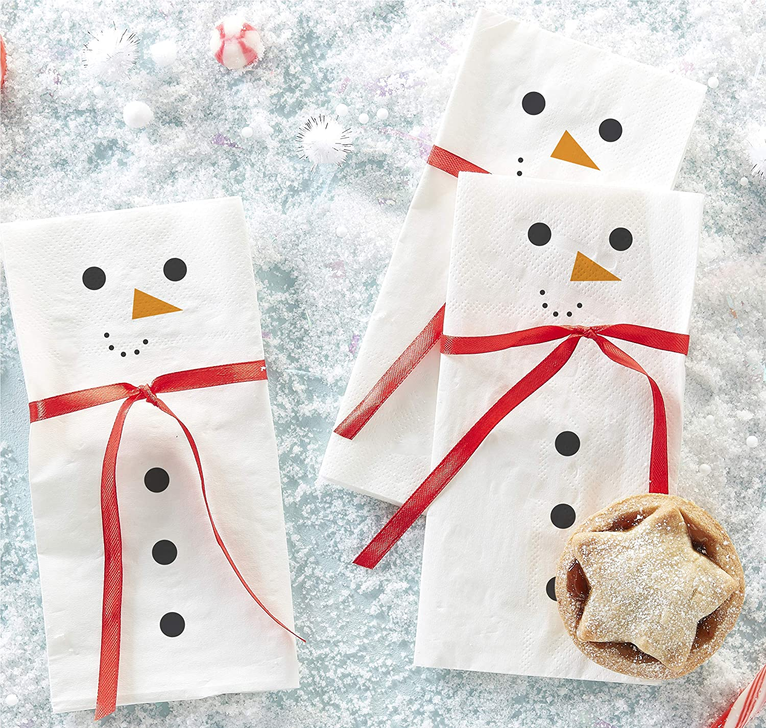 Ginger Ray Christmas Snowman Paper Party Napkins Tableware - 16 Pack - Novelty Christmas