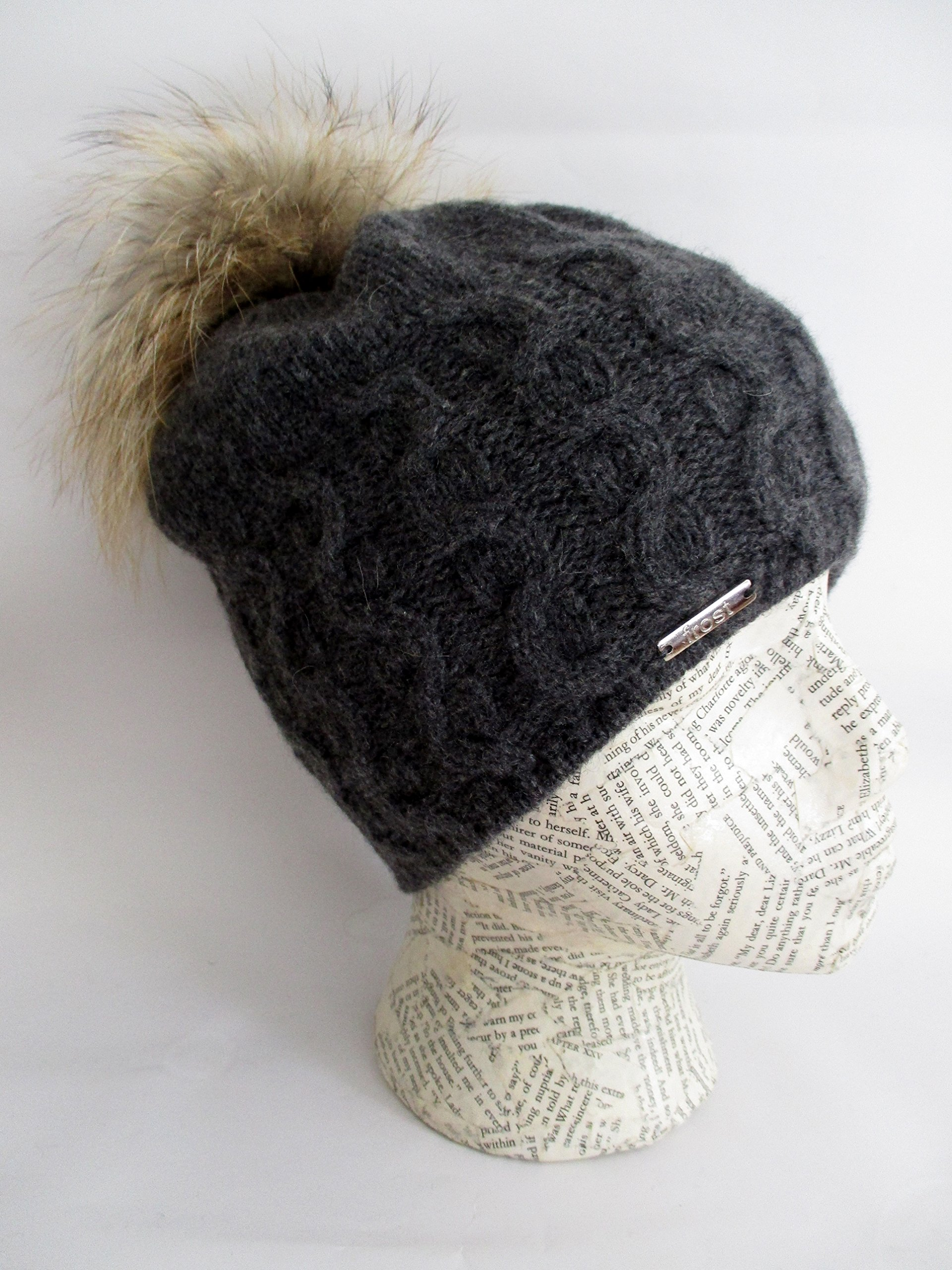 Frost Hats Cashmere Cable Hat with Detachable Genuine Fox Fur Pom CSH-735SRN (Charcoal2) by Frost Hats (Image #2)