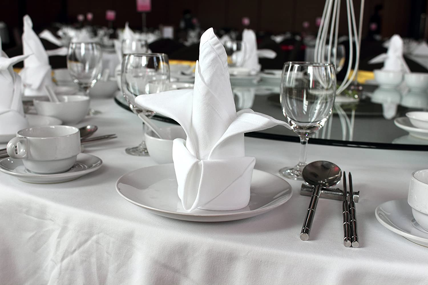 Atlas 6 Pieces White Dinner Napkins for Banquets & Restaurants, Commercial Grade 100% Polyester with Soft Cotton Touch, 20