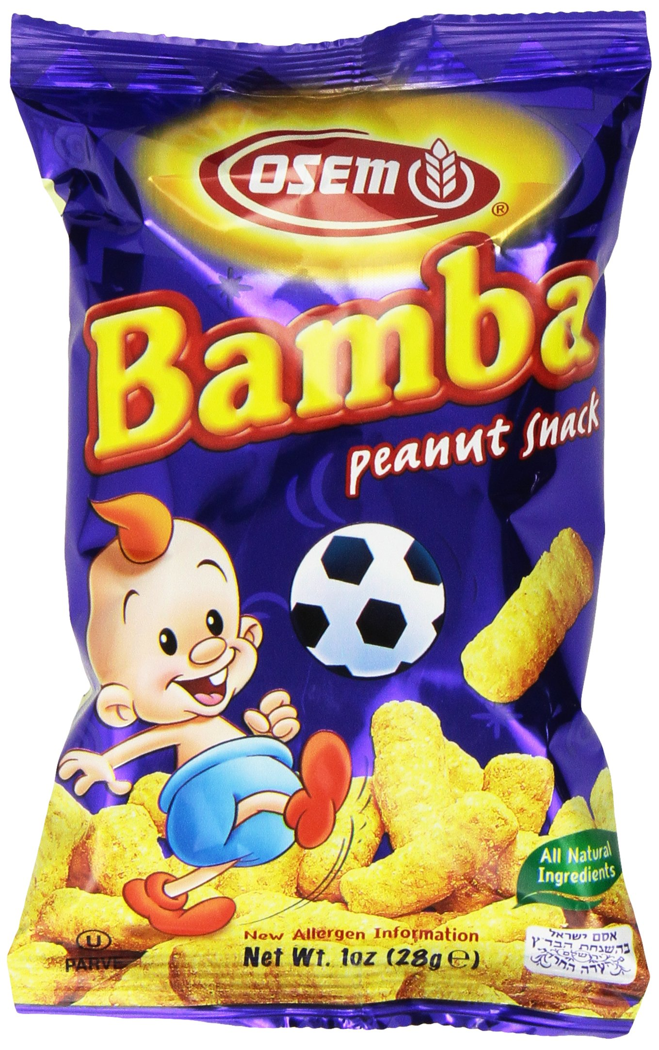Bamba Peanut Butter Snacks All Natural Peanut Butter Corn Puff Snack (Pack of 24 1oz Bags) by Osem