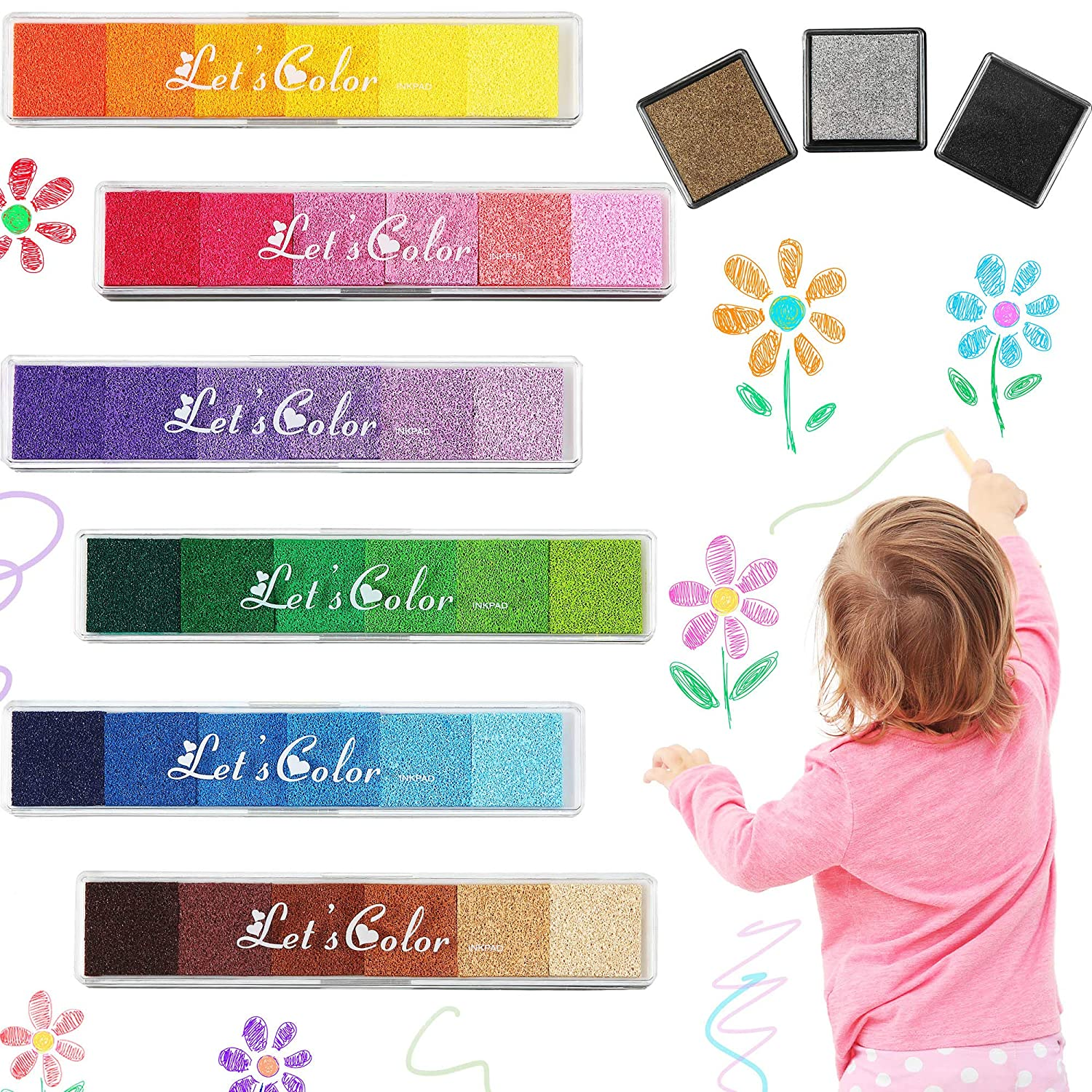 39 Colors Finger Ink Pads Craft Ink Pad Stamp Washable DIY Ink Pad Rainbow Finger Print Pad for Paper Wood Scrapbooking Fabric