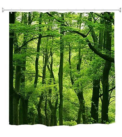 Amazon Goodbath Forest Tree Shower Curtain Nature Theme