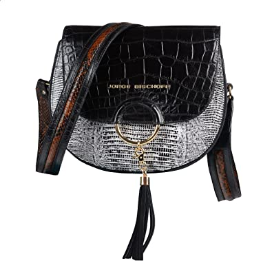 Jorge Bischoff Leather Crossbody Effect - Black texture