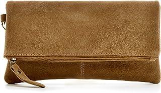 CNTMP, Damen Handtaschen, Clutches, Clutch, Unterarmtaschen, Abendtaschen, Party-Bags, Trend-Bags, Velours, Veloursleder, Wildleder, Leder Tasche, Farbe:Taupe;Größe:SMALL