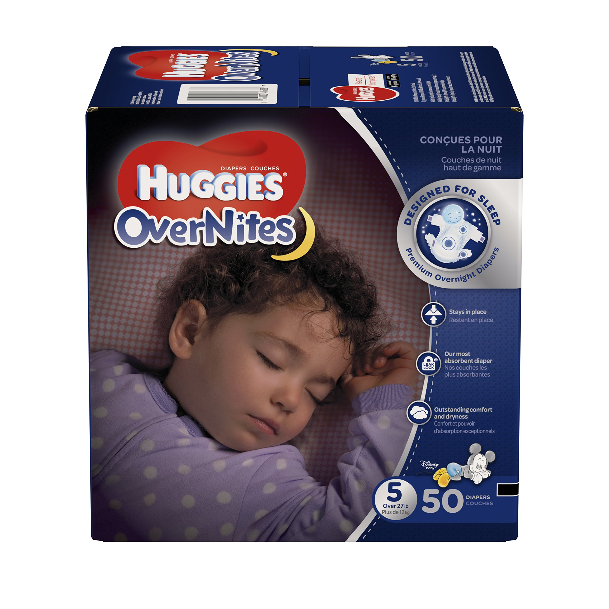 HUGGIES OverNites Diapers, Size 5, 50 ct, BIG PACK Overnight Diapers (Packaging May Vary)
