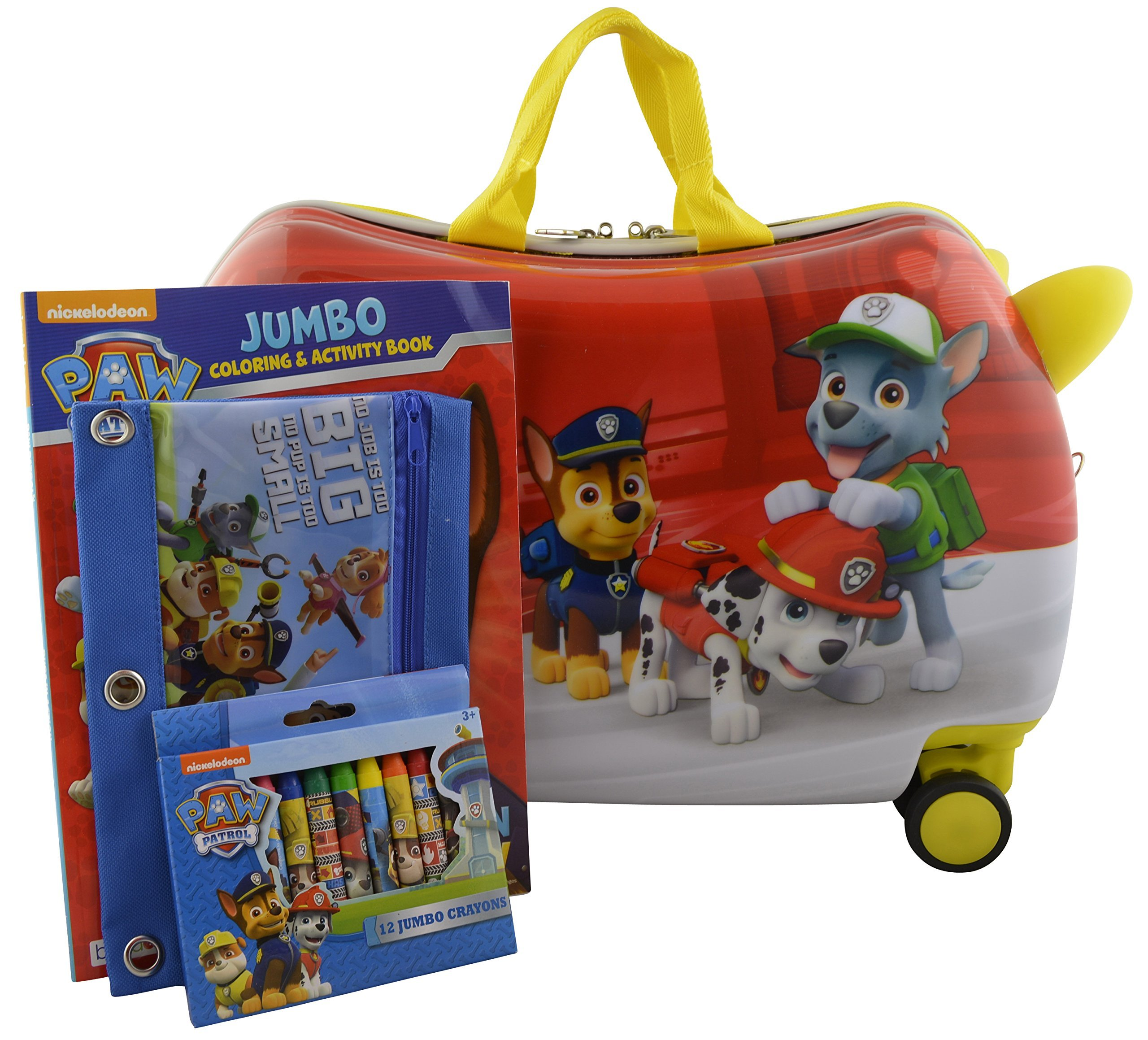 Nickelodeon Paw Patrol Carry On Luggage 20'' Kids Ride-On Suitcase Bonus Activity Pack