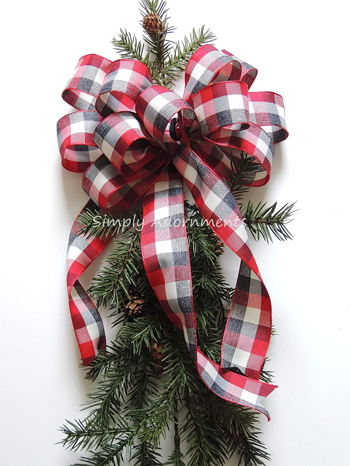 Black Red off White Cabin Plaid BOW ONLY Red Black Cream Check Christmas Wreath Bow Black Red Buffalo Check Bow Buffalo Plaid Christmas Topper Tree bow Christmas Lodge Home Decoration