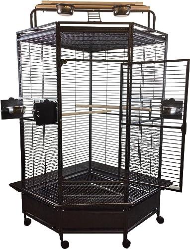 A E Cage Co. CC3232 Black Corner Bird Cage, 32 Large