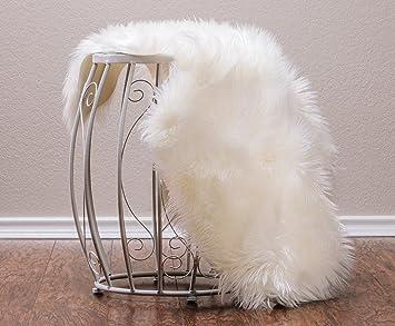 Amazon Com Chanasya Super Soft Faux Fur Fake Sheepskin White Sofa