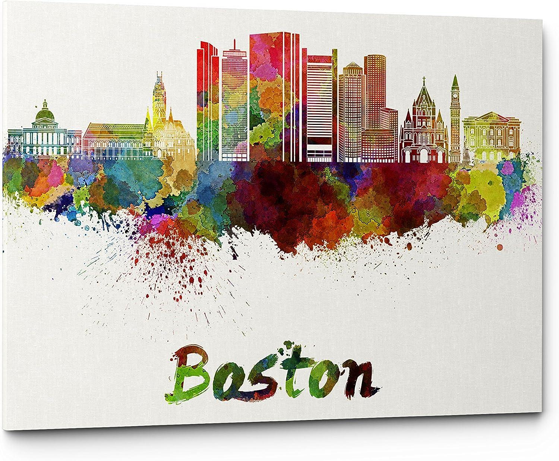 Watercolor City Splash Skyline Wall Art Canvas Print (Boston)