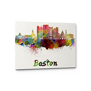 Watercolor City Splash Skyline Wall Art Canvas Print (Boston)