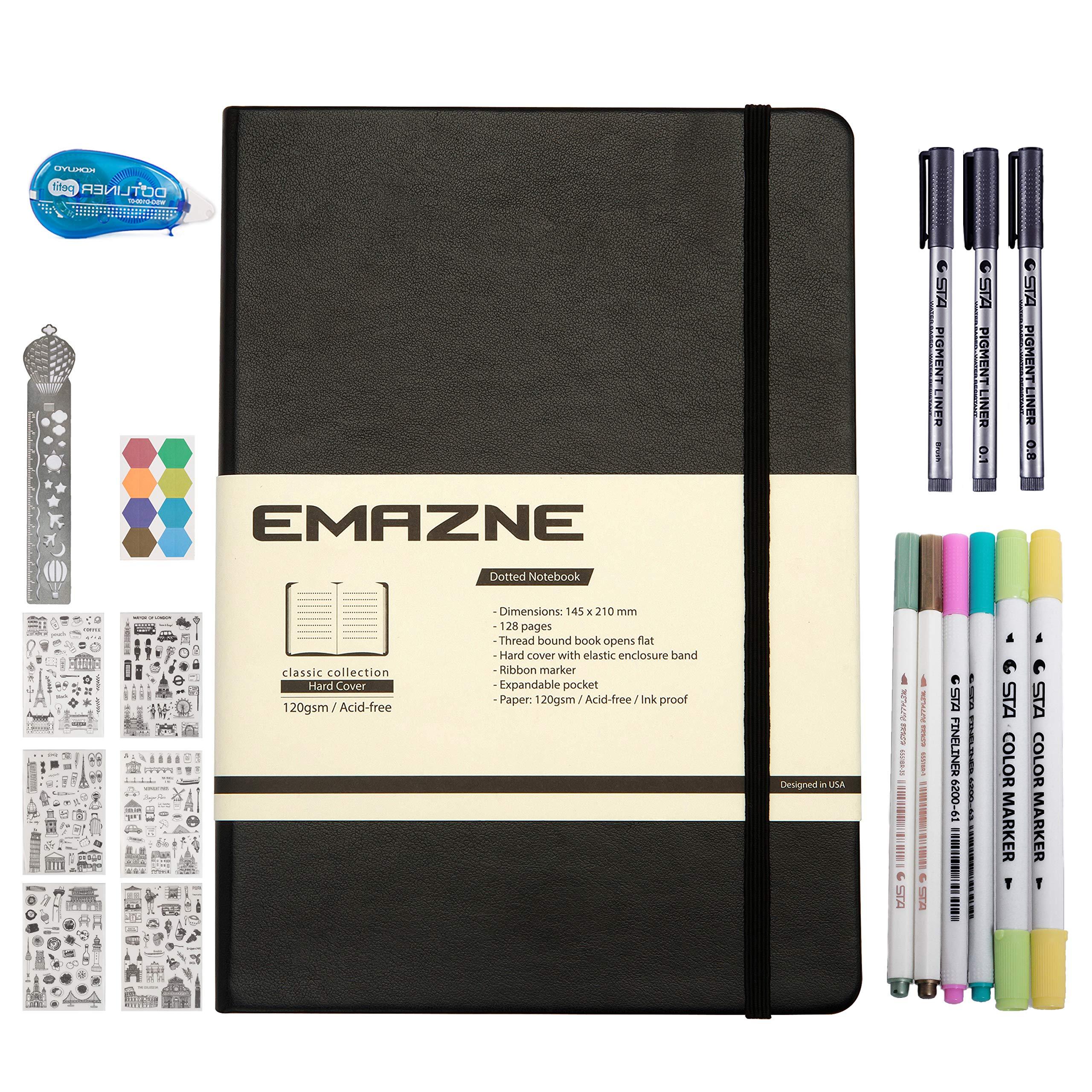 Bullet Journal Kit Emazne Classic Hardcover Notebook,A5,120gsm Paper,Fineliner/Brush-Flexible/Marker Pens,Sticker Sheet,Dotliner Tape Glue,Metal Ruler,Index Tab,Inner Pocket,Designed in US (Black)