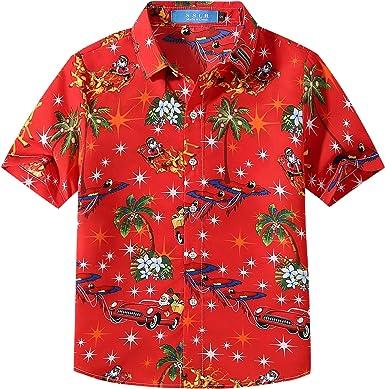 SSLR Camisa Original Estilo Hawaiana Tropical Estampado Navideño Papá Noel 3D Casual para Niño