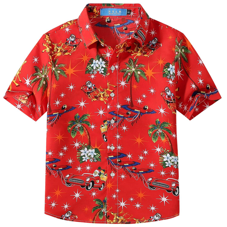 SSLR Big Boys' Xmas Party Casual Hawaiian Ugly Christmas Shirt