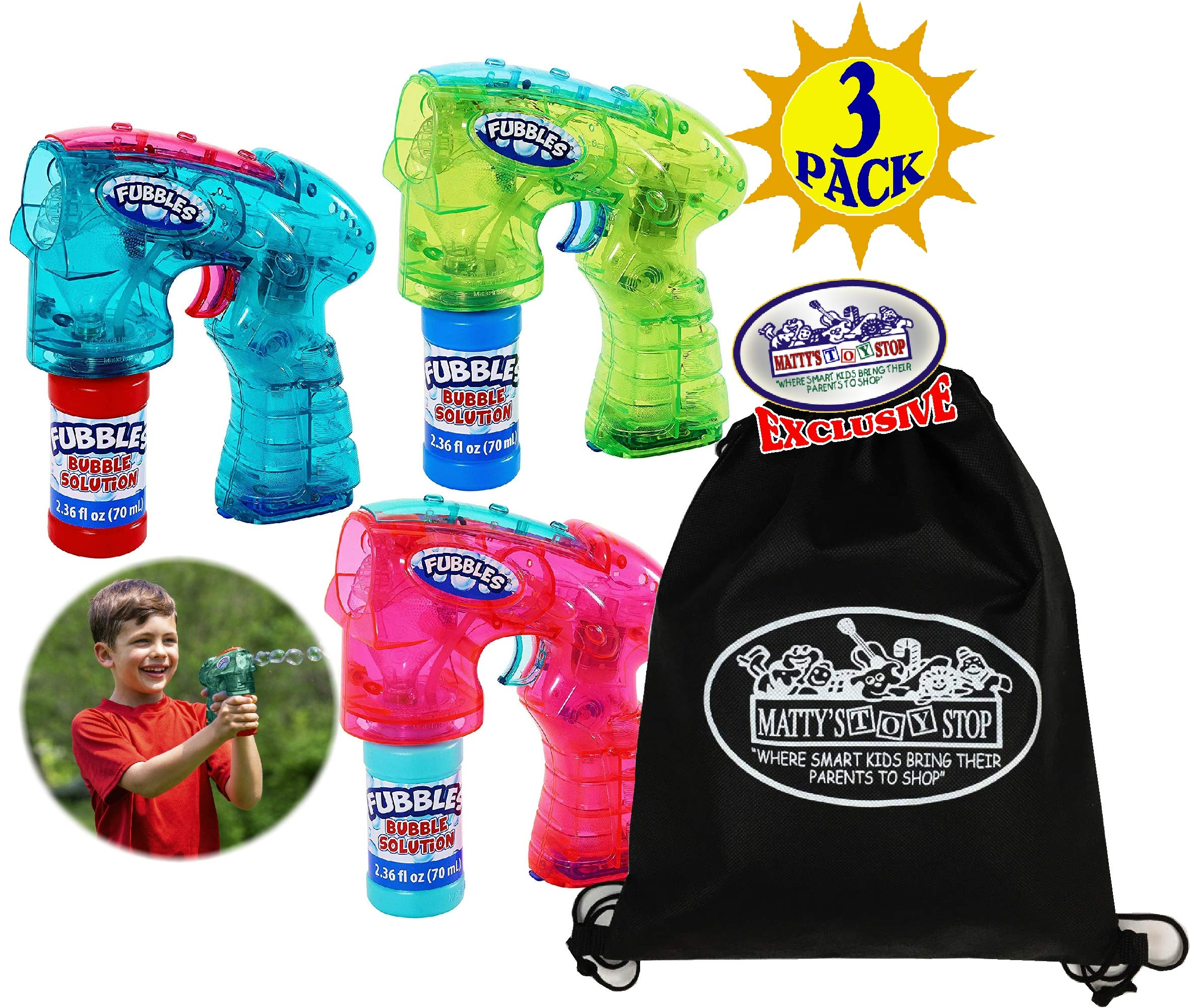 Little Kids Fubbles Light-Up Bubble Blasters Green/Blue, Teal/Pink & Pink/Teal Gift Set Bundle with Bonus Matty's Toy Stop Storage Bag - 3 Pack