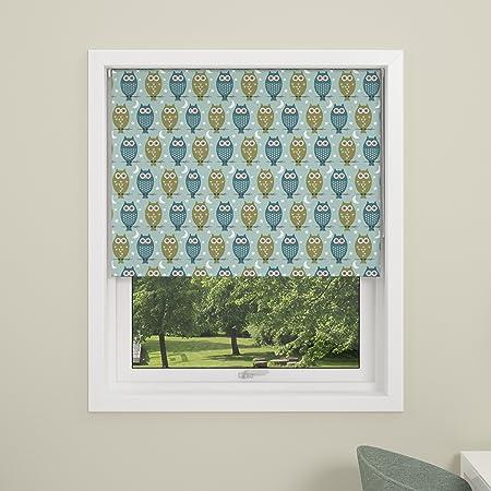Debel Owl Child Safe Design Blackout Roller Blind 100 Percent Polyester Blue 140 X 175 Cm
