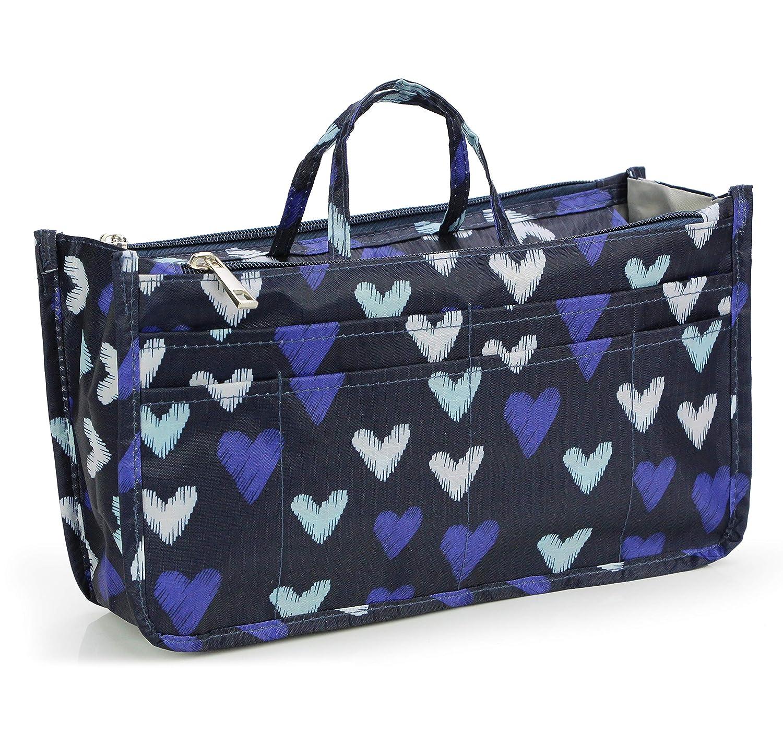 cec044c2b0a0 Micom Cute Printing Expandable 13 Pocket Handbag Insert Purse Cosmetic Bag  Organizer with Handles for Women (Big Heart)