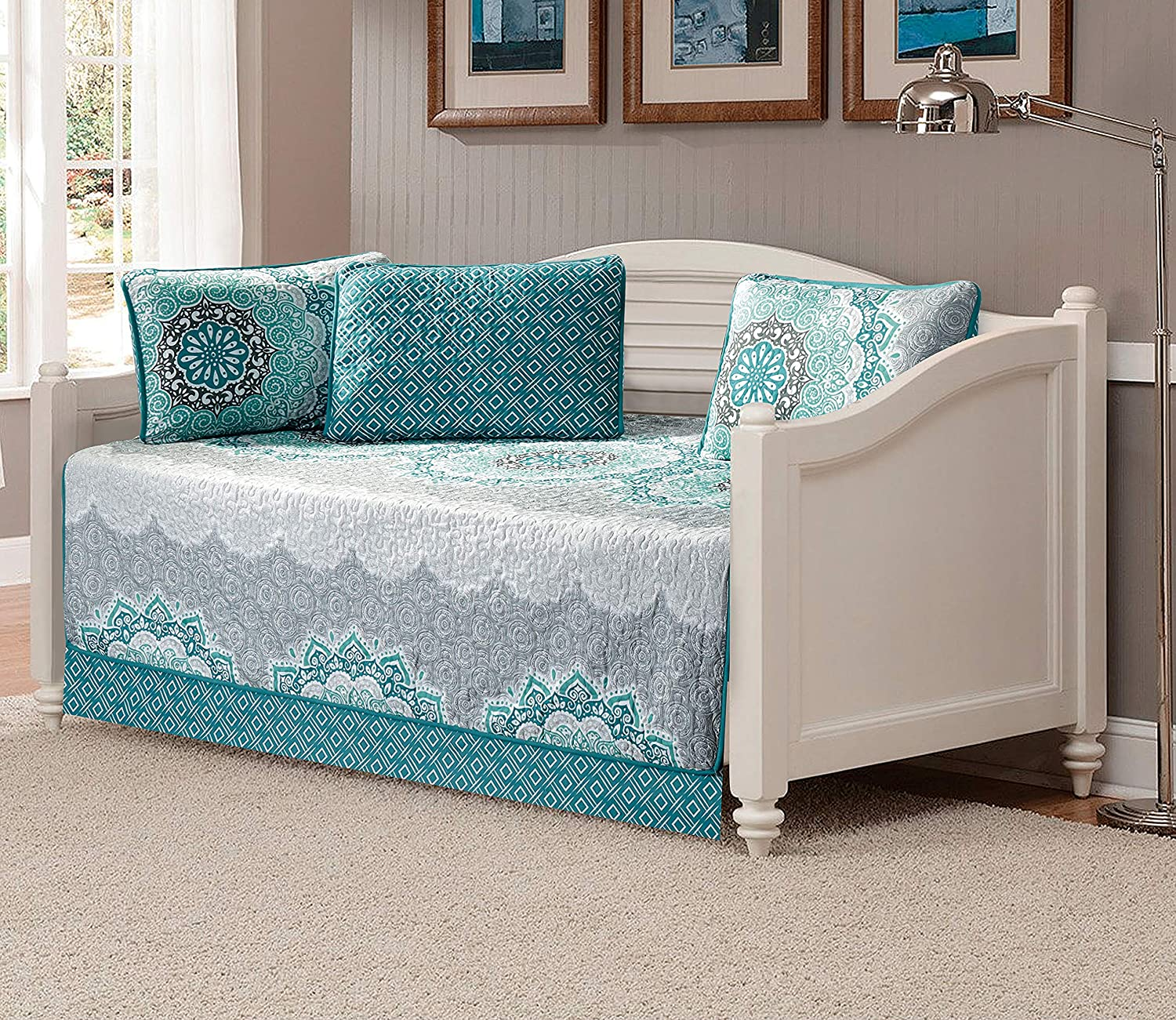 Linen Plus 5pc Daybed Cover Set Quilted Bedspread Floral Turquoise Teal Aqua Coastal Plain/Gray Green New