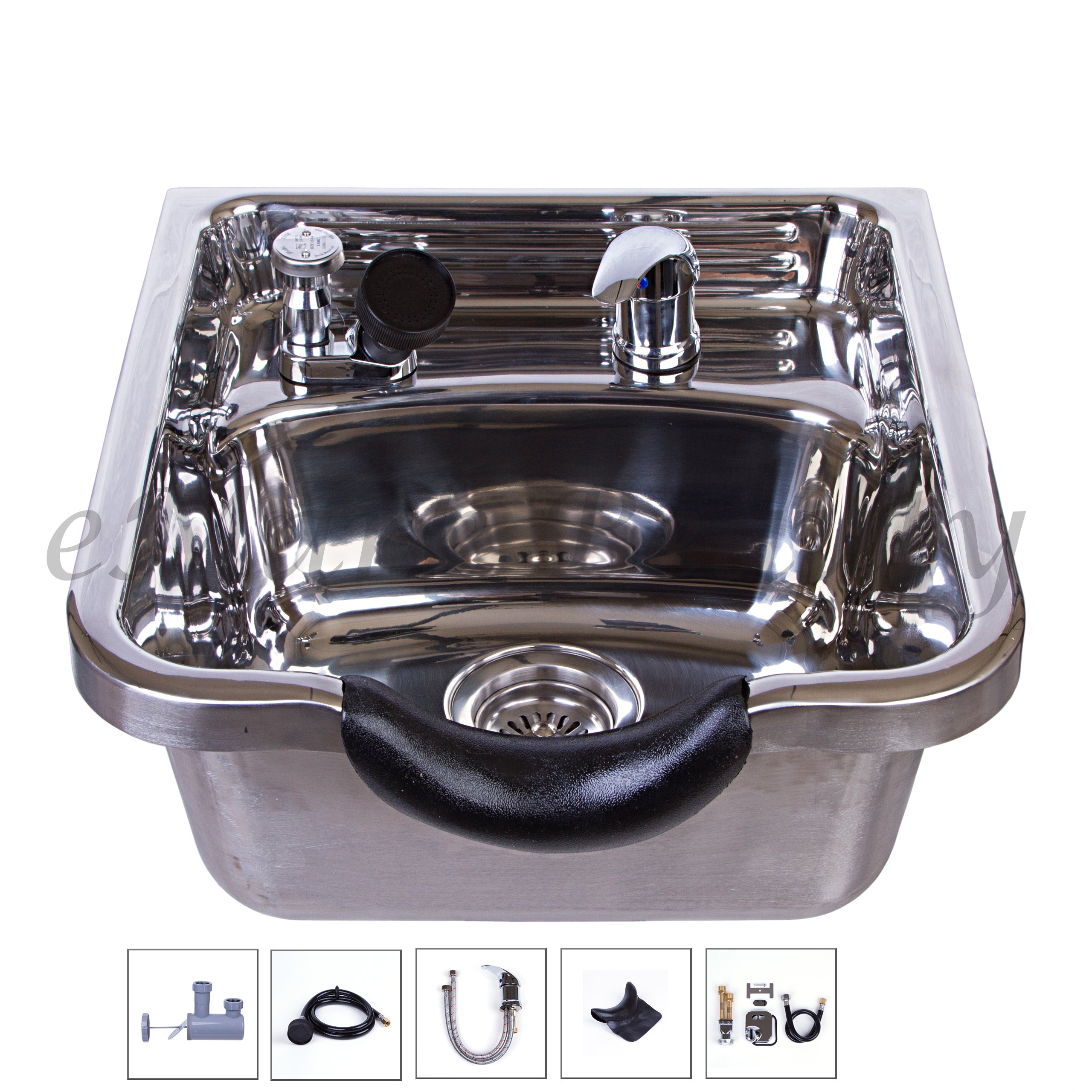 Stainless Steel Shampoo Bowl Shampoo Sink Barber Beauty Salon Polished TLC-1168 by eMark Beauty (Image #1)