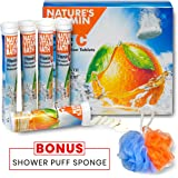 EFFERVESCENT DECHLORINATOR VITAMIN C TABLETS for EFFECTIVE WATER FILTER DECHLORINATION With BONUS SHOWER PUFF SPONGE by NATURE'S VITAMIN BATH
