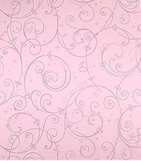 York Wallcoverings Disney Kids DK5967 Perfect Princess Scroll Wallpaper Pink With Glitter