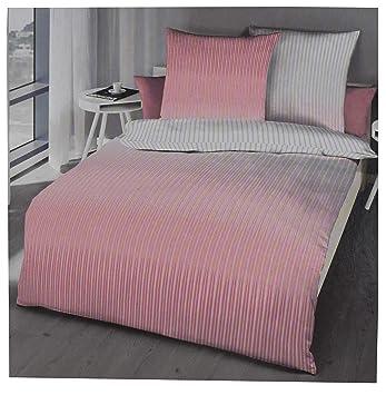 Kaeppel Bettwäsche Set 135 X 200 Mako Satin Baumwolle Rosa Pink Grau