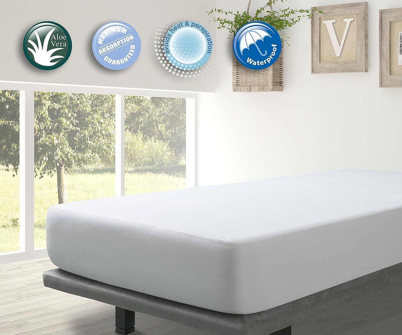 Protector Rizo impermeable para colchon de 90x190/200. Rizo algodón 100% con tratamiento de Aloe Vera: Amazon.es: Hogar