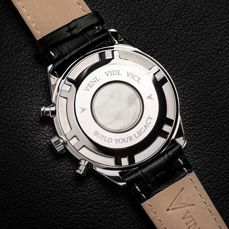 Reloj de Pulsera Kairos de Lujo para Caballero Vincero - Reloj con Disco Azul y Correa de Cuero Negro - Reloj Analógico de 42mm - Movimiento de Cuarzo ...