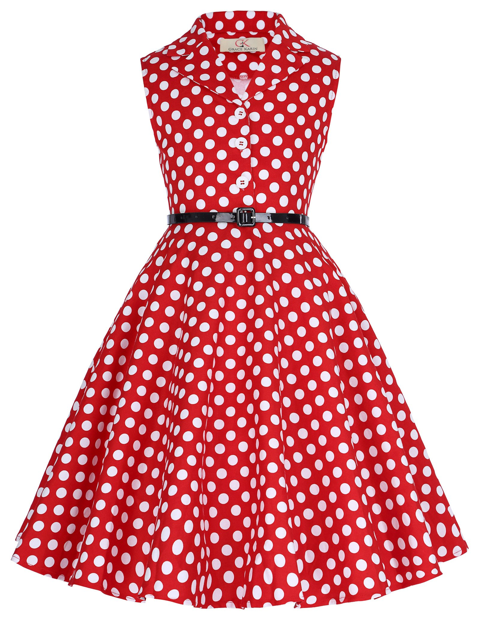 Girls Print Sleeveless Swing Dresses with Belt 10yrs CL9000-3