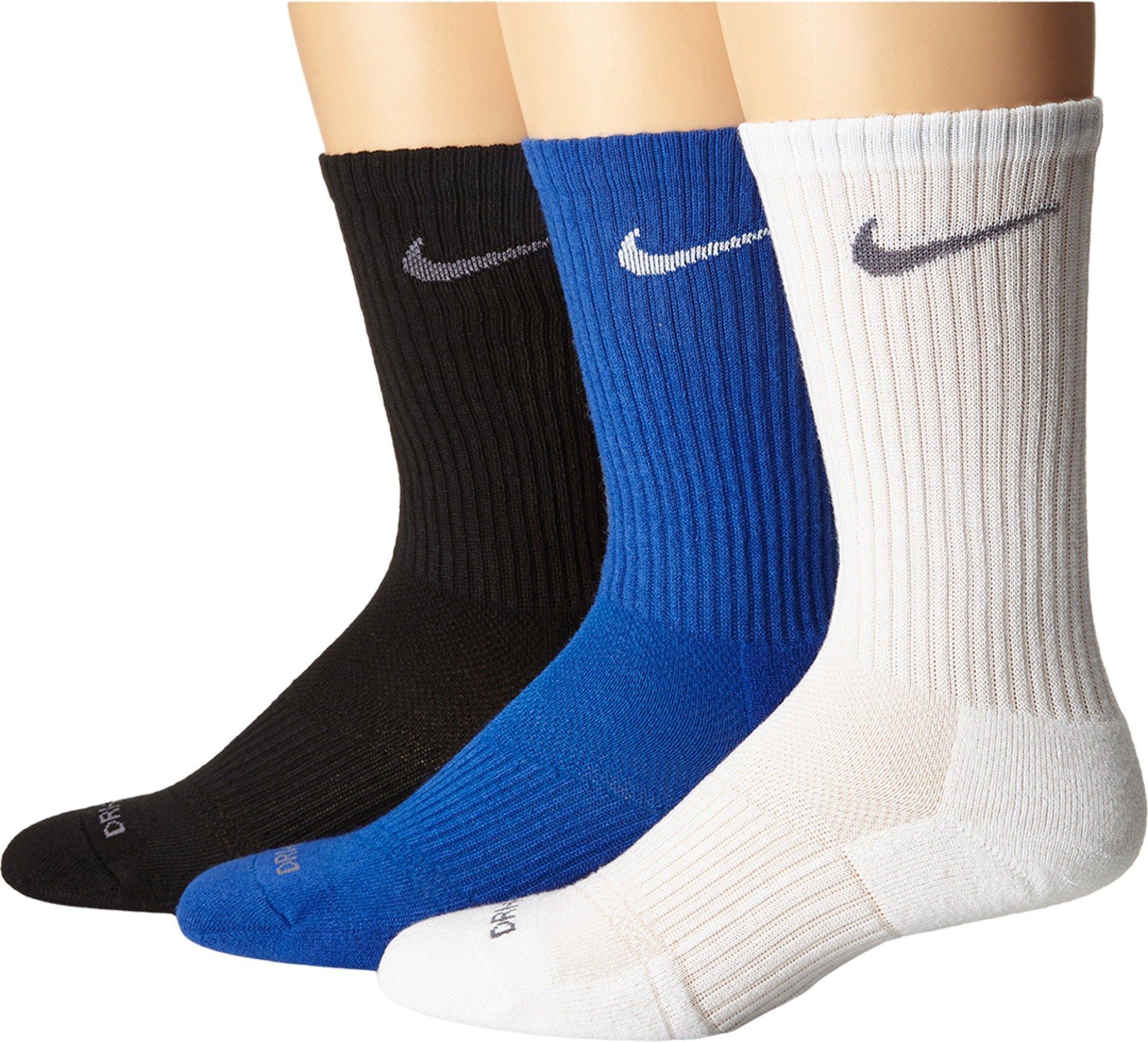 Nike Men's Dri-FIT Cushioned Crew Socks, Large 8-12 (Pack of 3), Large, Blue/White/Black