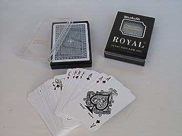Amazon.com: Royal 100% plástico jugar baraja de poker tamaño ...