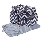 Trend Lab Chevron Deluxe Duffle Diaper Bag, Black/Grey