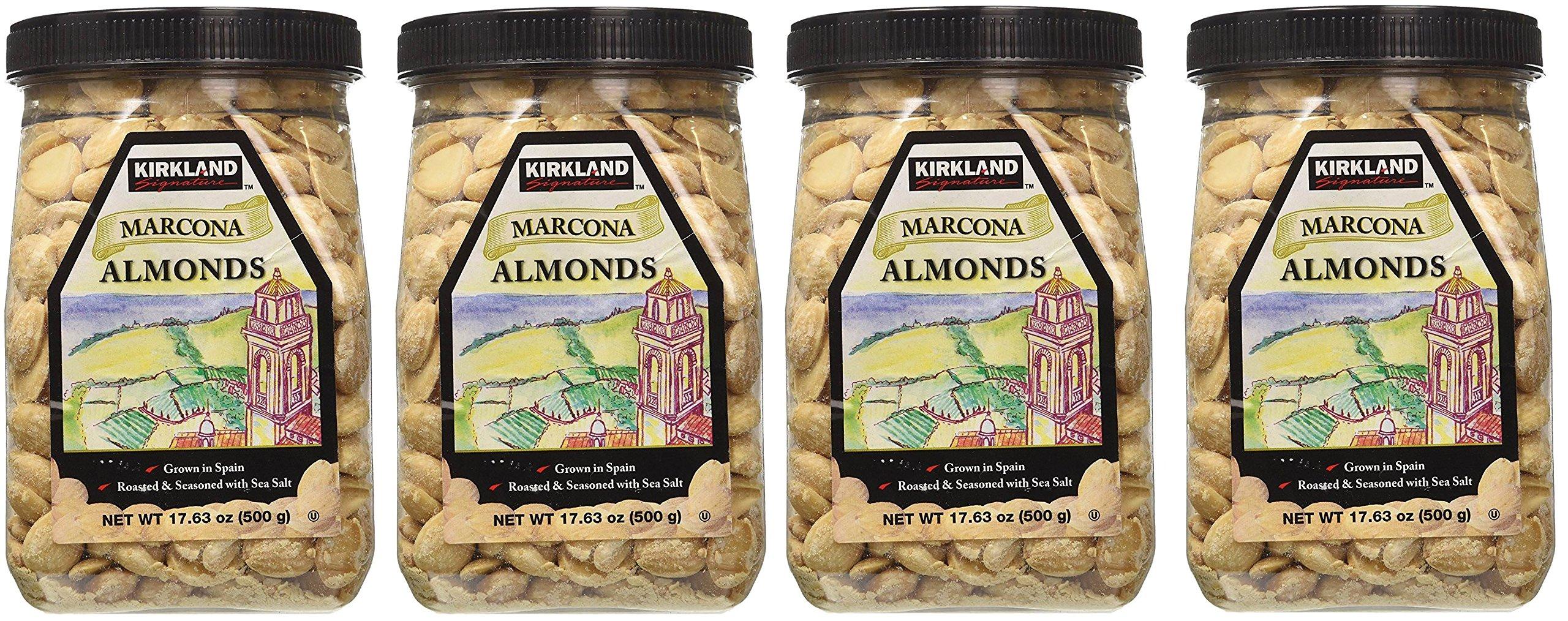 Kirkland Marcona Almonds, Roasted and Seasoned with Sea Salt, 17.63 Ounce (4 Pack)