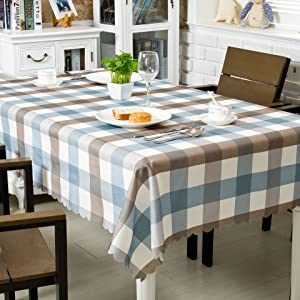 OstepDecor Waterproof Tablecloth 60 x 60 Inches Polyester Decorative Table Top Cover for Kitchen Dining Room End Table Protection, Square, Blue
