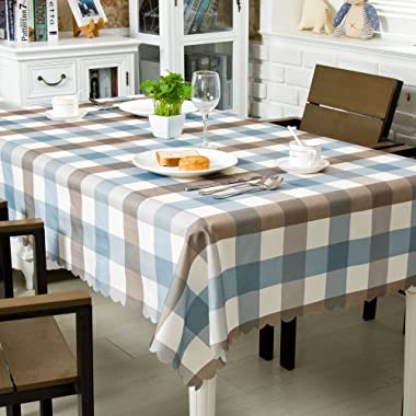 OstepDecor Waterproof Tablecloth 52 x 70 Inches Polyester Decorative Table Top Cover for Kitchen Dining Room End Table Protection, Rectangle/Oblong, Blue