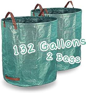 ZOKLA 132 Gallon Reusable Garden Waste Bags Durable Multifunctional Foldable Home Lawn Garden Use