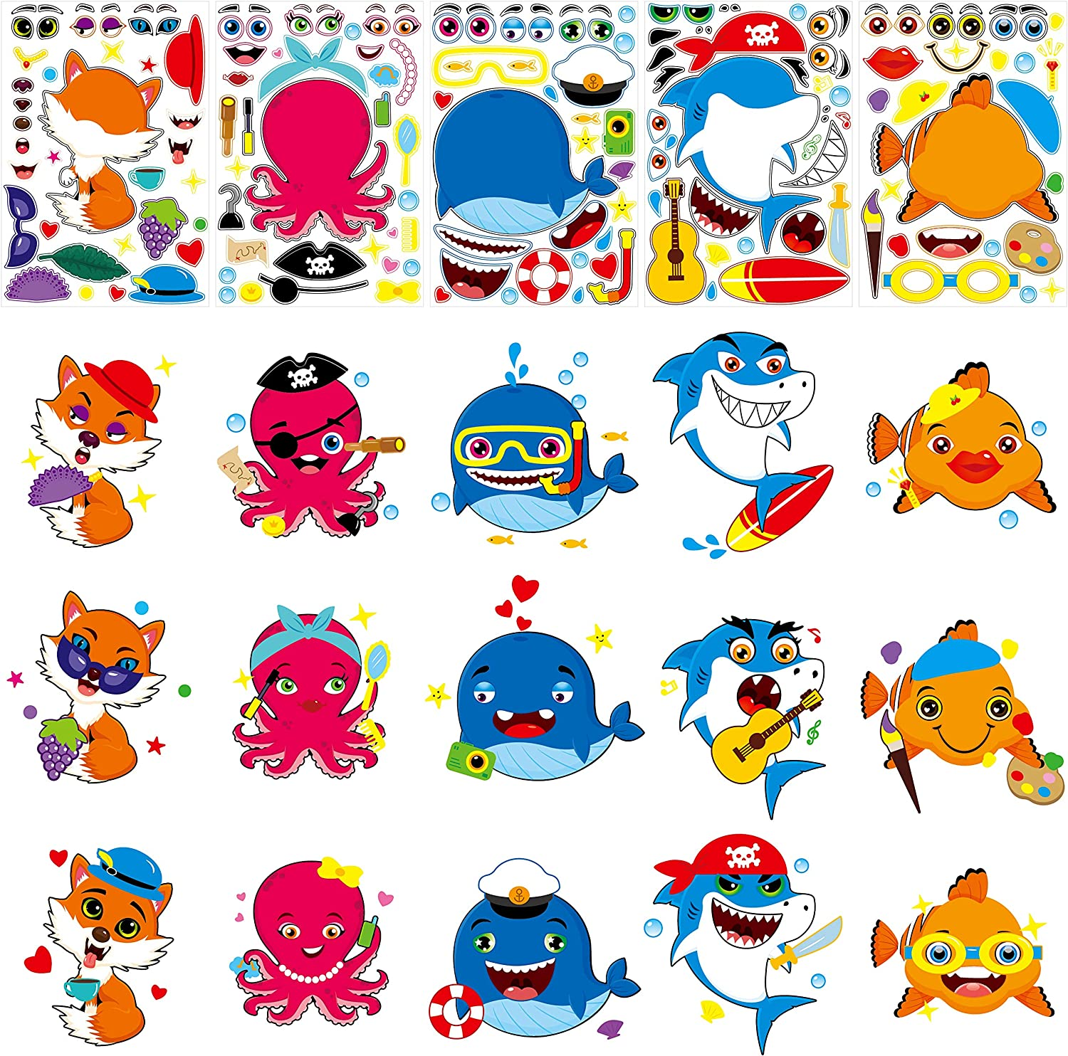 Octopuses 40 PCS Make a Face Sticker,Can be Random Combination According to Your Own Preference 10 Cartoon Animal Including Sharks Foxes and More to Foster Kids Creativity