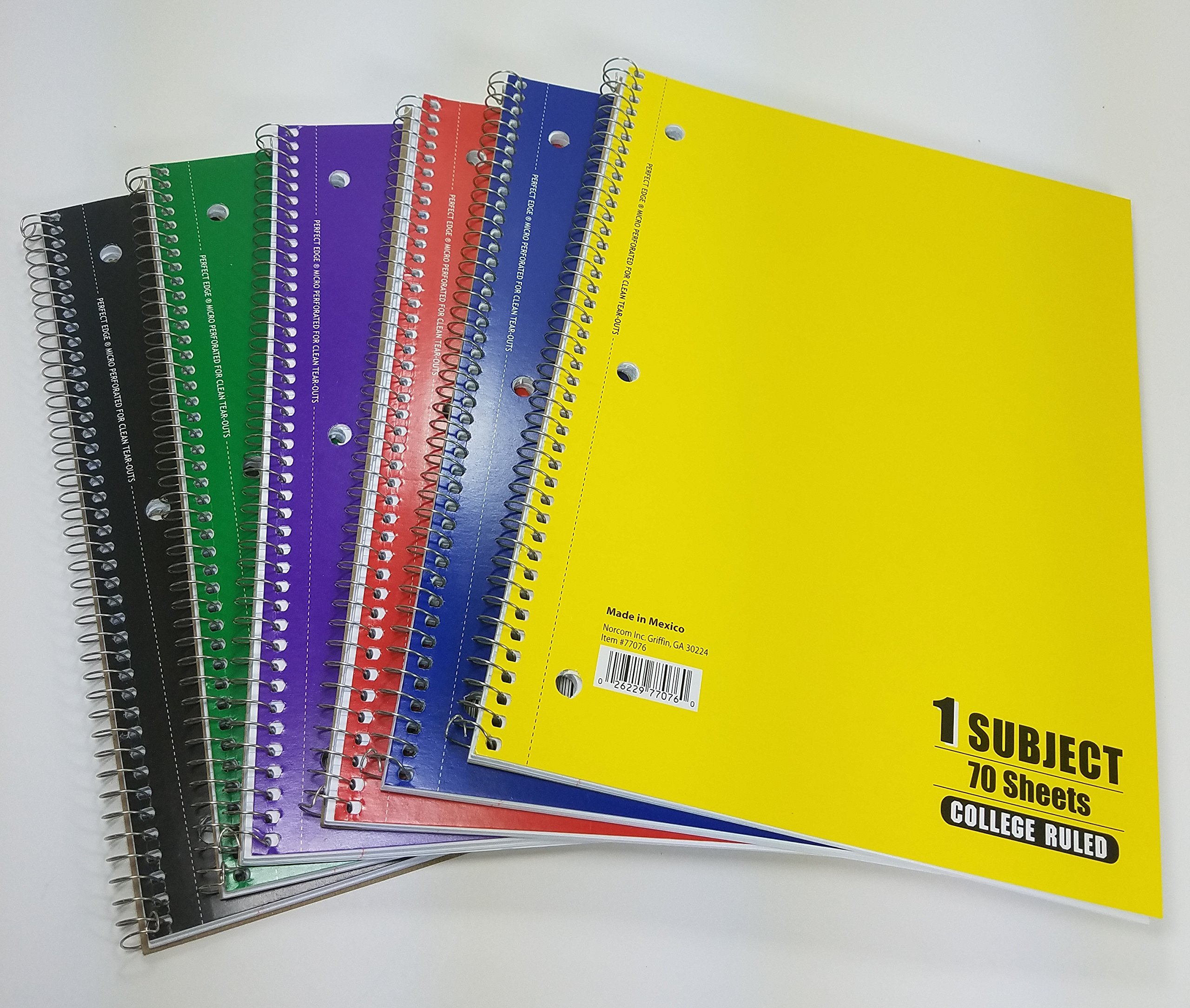 6 Spiral Bound Notebooks, 70 Pages Each, College Ruled, Red, Blue, Green, Yellow, Purple, Black by Norcom (Image #1)