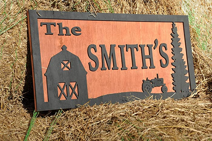 76b324a8cd1b9 Amazon.com: Personalized Farm Sign, Tractor Sign, Barn Sign, Gift ...