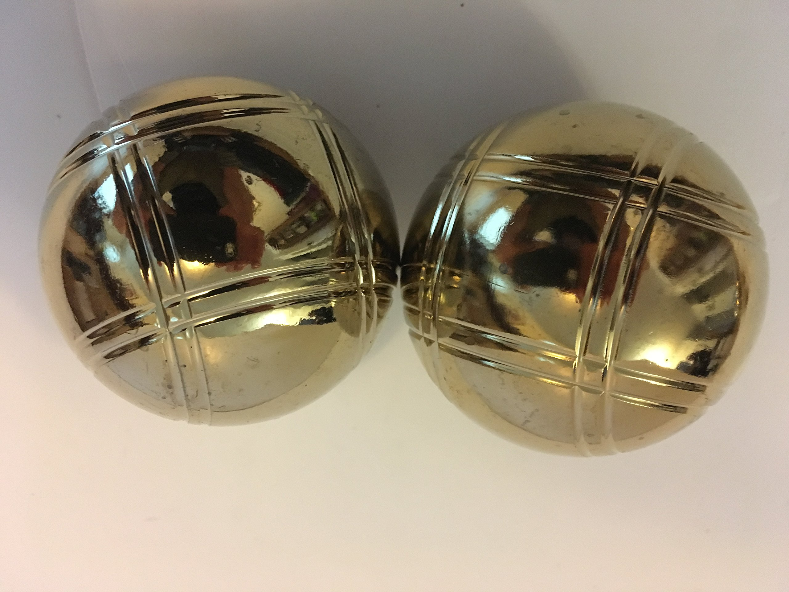 Replacement 73mm Metal Bocce/Petanque Gold Balls - pack of 2 with large criss cross pattern by BuyBocceBalls