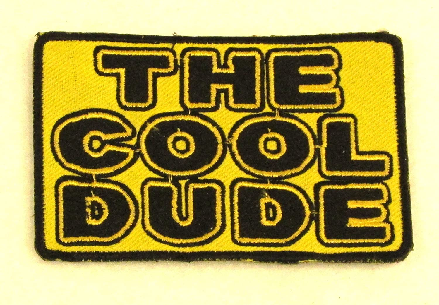 THE COOL DUDE Black on Yellow Iron on Small Patch for Biker Vest SB842