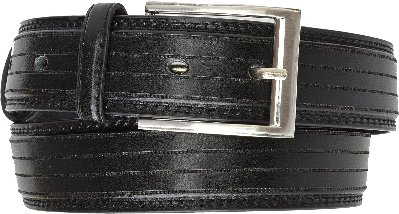 Mens Belt Black Striped Leather Nickle Buckle Dress Belt Mens Belt by Marshal