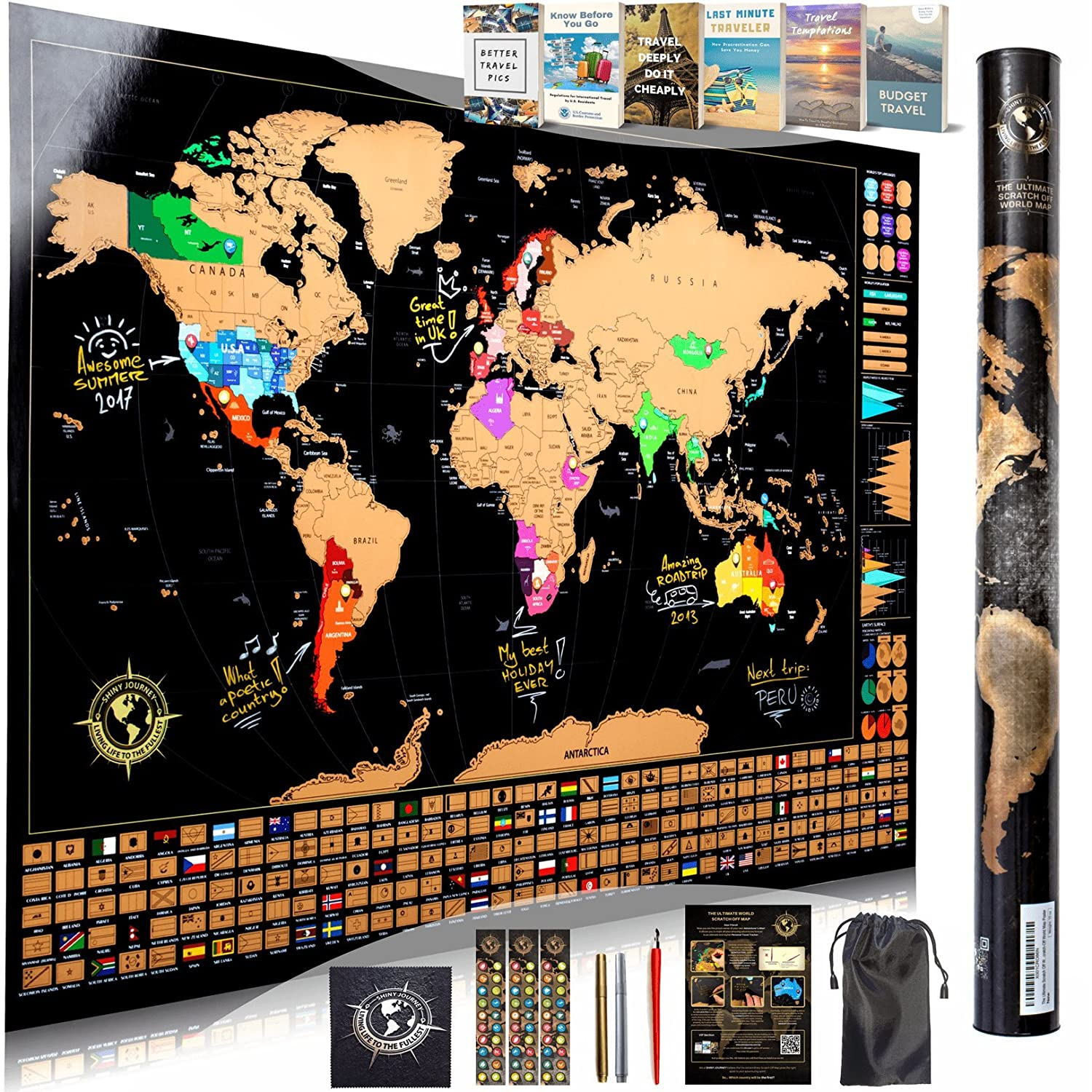 Scratch Off World Map Wall Poster - Ultimate Pack of Tools and Travel Ebooks - Stylish Large 34.5x24 Trip Tracker with US States, Infographics, Flags and More - Combines The Best of Scratch-Off Maps Shiny Journey SJWSMU2