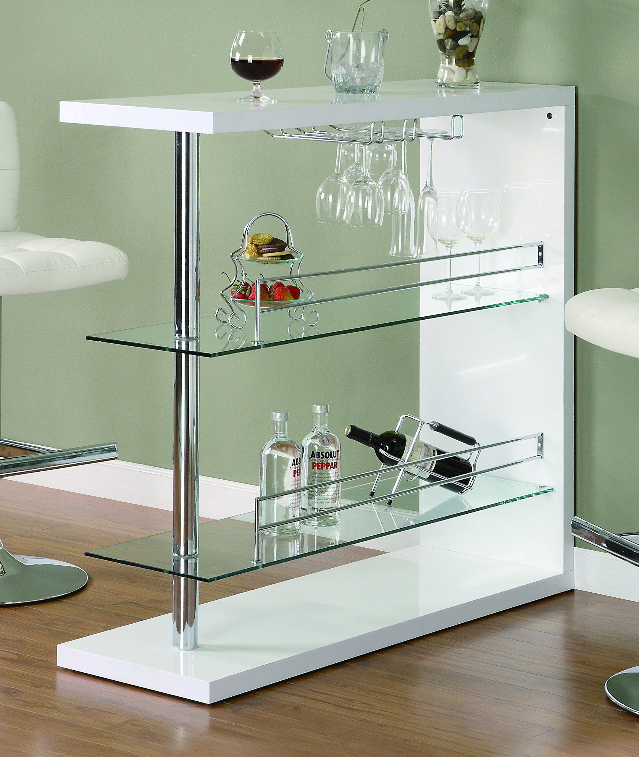Coaster Bar Table with Two Glass Shelves in Gloss White Finish